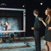 """Captive Audience"" Photo by Luke Rutan, Pictured Brett Kelly, Megan Scott, Megan Wilford, and Andrew Davies"