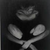 Pastel on black paper